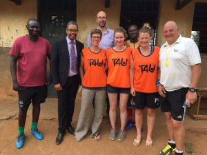 L to R: Ben Omoding (T4U), Vaughan Gething (Welsh Gov), Penny Cook, Jon Townley (Wales for Africa), Ciara O'Donnell (volunteer), Father Deogratias Tembo, Sarah Sankey (volunteer), Dave Cooke (T4U founder)